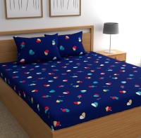 CHHAVI INDIA 144 TC Microfiber Double Printed Bedsheet(Pack of 1, Blue, Red)