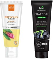 VLCC Revolutionizing Face Wash with Yash Herbal Total Protection Unisex Charcoal Peel-off Mask by Janvi Enterprises(2 Items in the set)
