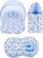 Miss & Chief Polycotton Bedding Set(Blue, 1 Mattress With Mosquito Net, 1 Pillow, 1 Sleeping Bag)