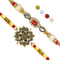 bandhan Bracelet Rakhi, Chawal Roli Pack  Set(2 Fancy Rakhi, Roli Tika Pack)
