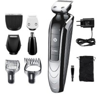 KM KEMEI -1832 PROFESSIONAL RECHARGEABLE CORDLESS 5 IN 1 MULTI GROOMING KIT HAIR CLIPPER HAIR TRIMMER BEARD TRIMMER NOSE TRIMMER EYEBROW TRIMMER BODY SHAVER BEARD SHAVER FOR ALL SALON AND DOMESTIC PURPOSES  Runtime: 120 min Grooming Kit for Men & Women(Black, Grey)
