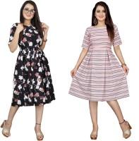 AUCREATIONS Women A-line Pink, Black Dress