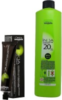 INOA Loreal Professionnel Hair Colour Black & Developer 1000 ml , BLACK