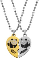 M Men Style Valentine Gift Best Friend Cartoon DesignPendant Pair Has Two Pieces Of One Heart- Best Friend , That Can Be Joined Together Making One Heart- A Sign Of Making Two Souls In One Heart, A Perfect Present To Maintain The Intimacy Between You Both. One Of The Pendants Is In Gold And Silver C