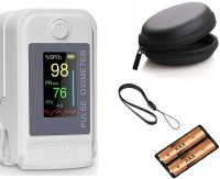 RVS Make In India Pulse Oximeter Professional High End Series Finger Tip Pulse Oximeter with OLED Display & Auto Power Off (German Sensored) (White Color) (With 2 AAA Duracell Batteries) Pulse Oximeter(White, Grey)