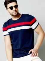AUSK Color Block Men Round Neck Blue, Red, White T-Shirt