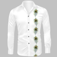 Trijal Fab Cotton Polyester Blend Printed Shirt Fabric(Unstitched)