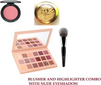 Sheny BEST EVER PERFECTING PROFESSIONAL MAKE UP COMBO , LONG LASTING PROFESSIONAL MAKE UP SUPER QUALITY.BAKED PINK BLUSHER (PINK ) , 24 K GOLDEN EDITION BAKED HIGHLIGHTER NATURAL FINE POWDER , NUDE EYESHADOW PALETTE 18 COLOR MAKEUP PALETTE HIGHLIGHTERS EYE MAKEUP HIGH PIGMEN PROFESSIONAL MATTES AND