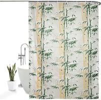 TRIKOOTA FURNISHING 274 cm (9 ft) PVC Shower Curtain Single Curtain(Printed, Green)