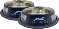 PETS EMPIRE Rounds Steel Pet Bowl(700 ml Black, White)
