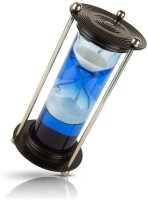 nikint Aluminum Blue Liquid/Water Hourglass Sand Timer for Home décor, Office, Tables, desks, counters and for Gifting Purpose. Decorative Showpiece  -  20 cm(Brass, Wood, Blue)