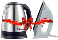 Fabiano 1.8L Electric Kettle (Silver) & 750W Dry Iron (White & Grey)