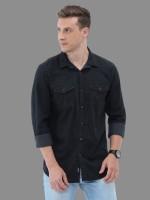 Carbonn Cloth Men Solid Casual Black Shirt