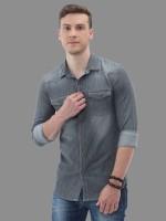 Carbonn Cloth Men Solid Casual Grey Shirt