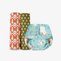 Superbottoms Newborn UNO cloth diaper with one dry feel pad (Hunny Bummy)+ Pack of 2 Mul Mul Swaddle for Newborn Baby - New Born