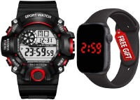 hala Brand - A Digital Watch With Square LED Shockproof Multi-Functional Automatic Red Color Black Strap Waterproof Digital Sports Watch for Men's Kids Watch for Boys Watch for Men PACK OF 2 Digital Watch  - For Men