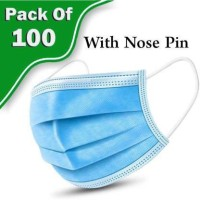 TAOS 3 Layer Disposable 100 Pieces Spun Bond Non-Woven Fabric CE,ISO and WHO-GMP Certified (BFE)?98.5%, Particle Filtration Efficiency(PEE)?94% with Adjustable Pin Inside Surgical Mask With Melt Blown Fabric Layer (Blue, Free Size, Pack of 100, 3 Ply) SURGICAL-10 mask 112 Surgical Mask(Blue, Free Si