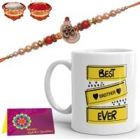Tonkwalas Designer Mug, Rakhi, Greeting Card, Chawal Roli Pack  Set(1 Printed Mug, 1 Rakhi, 1 Greeting Card, 1 Roli Chawal Pack)