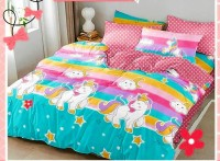 JVB 254 TC Cotton Double King Cartoon Bedsheet(Pack of 1, Multi Color with 1 Cushion Cover)