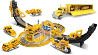 IndusBay 1:64 Scale Tyre Orbit Engineering Construction Parking Garage Setup with 6 Metal Diecast Vehicles , Truck and Track, Yellow…(Yellow)