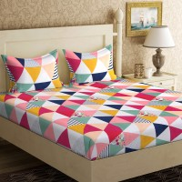IWS 144 TC Microfiber Double 3D Printed Bedsheet(Pack of 1, Multicolor)