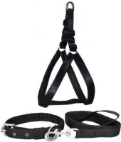 DYS Pets Dog Belt Combo of 1 inch Black Padded Dog Body Harness, Dog Leash Black with handle and Black Collar for Dog , Adjustable Chest Size, Dog Harness & Leash Dog Harness & Leash(Medium, Black)