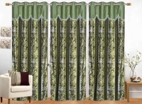 Ruhi Home Furnishing 214 cm (7 ft) Polyester Door Curtain (Pack Of 3)(Floral, Green)