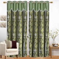 Ruhi Home Furnishing 274 cm (9 ft) Polyester Long Door Curtain (Pack Of 2)(Floral, Green)