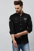 BOSQUE Men Self Design Casual Black Shirt