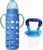 Little Warriors Glass Baby Feeding Bottle for Kids with Ultrasoft Nipple and with Silicone Cover for Milk and Baby Fruit Feeder-Combo - 240 ml(Blue)