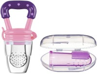Little Warriors Baby Fruit Feeder and Pacifier for Fresh Food Feeding and Baby Silicone Finger Brush for Dental Care(Pink)