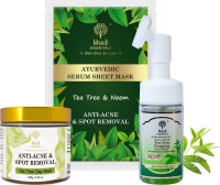 Khadi Essentials Combo of Tea Tree Clay Mask 100gm + Tea Tree Foaming  100ml + Tea Tree Sheet Mask 25gm for Anti-Acne & Spot Removal Face Wash(225 ml)