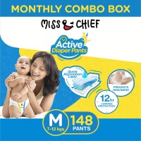 Miss & Chief Active Diaper Pants - Monthly Combo Box - M(148 Pieces)