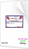 AURACELL 30 Pcs PVC Glossy Vinyl White Self Adhesive Sticker Paper for Inkjet Printer Unruled A4 124 gsm Printer Paper(Set of 1, White)