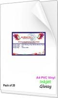 AURACELL 20 Pcs PVC Glossy Vinyl White Self Adhesive Sticker Paper for Inkjet Printer Unruled A4 121 gsm Printer Paper(Set of 1, White)
