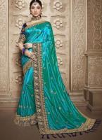 parth sarees Embroidered Fashion Poly Silk Saree(Blue)