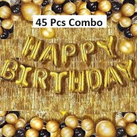 Jeonza Solid GoldFoil&Curtains_baloon _Set_of45 Balloon(Gold, Pack of 45)