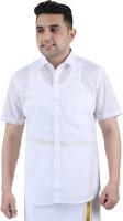 Prakasam Cotton Men Solid Casual White Shirt