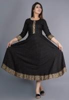 Traditionalstudio Women Printed Anarkali Kurta(Black)