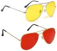 shah's collection Aviator Sunglasses(For Men & Women, Red, Yellow)