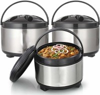 Autokite Stainless Steel Thermo Ware Casserole & Tureens Double Wall Insulated Hot Pot for hot Meal  chapatti  Curry  roti Set of 3, 3500ML Pack of 3 Thermoware Casserole Set(3500 ml)