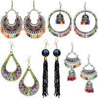 YOTOG Combo of 5 Fancy, Party Wear, Trendy, Designer Earrings for girls & women, Black Tassel, Cheap earrings, Jhumki ear ring for girls, Earring set, Afghani Chandbali Alloy, Brass Earring Set