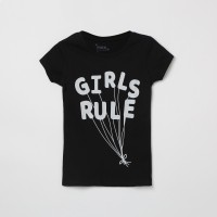 MAX Girls Printed Pure Cotton T Shirt(Black, Pack of 1)