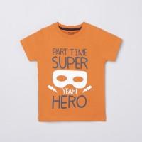MAX Boys Graphic Print Pure Cotton T Shirt(Orange, Pack of 1)