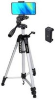 Nikki NT-5 feet (200cm) strong Metal mobile phone tripod/camera stand,beauty ring fill light stand, photography umbrella ,selfie video recording [3366 meters tripod] with mobile holder clip Tripod SILVER Tripod, Tripod Kit, Monopod Kit, Monopod(Black, Silver, Supports Up to 3000 g)