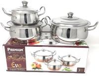 Premium Dinner set 3Pcs casserole set-Mirror Finish Pack of 6 Serve Casserole Set(950 ml)