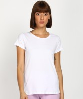 Dreamz by Pantaloons Solid Women Round Neck White T-Shirt