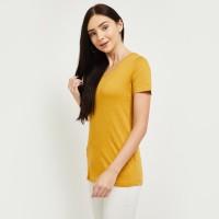 MAX Solid Women V Neck Yellow T-Shirt