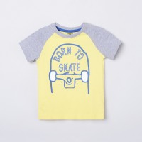 MAX Boys Printed Pure Cotton T Shirt(Yellow, Pack of 1)