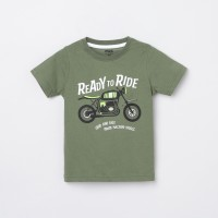MAX Boys Printed Pure Cotton T Shirt(Green, Pack of 1)